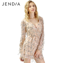 JENDIA V Neck Long Sleeve Sequin Party Dresses Women Sexy Mesh Midi Dress  Spring Summer Casual 23c9d69dc450