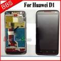 LCD Screen with Touch Screen with Bezel frame for Huawei Ascend D D1 Quad XL U9510 U9510E U9500 Full Set black ,Original