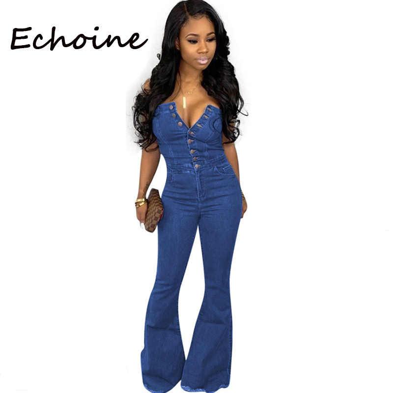 Echoine сексуальный комбинезон с открытыми плечами ковбойский комбинезон без рукавов женский комбинезон на бретельках для женщин с пуговицами синий Clor