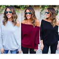 Plus Size S~XL Fashion Casual Off Shoulder Sexy Batwing Sleeve Loose Pure Color Pullover Jumper Knitting Women Sweater Tops