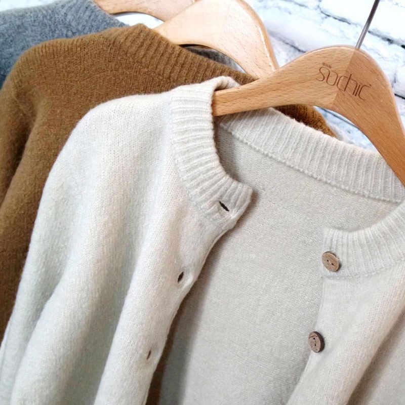 Vinatge свитер женский кардиган осень 2019 корейский женский вязаный зимний Топ короткий черный Pull Femme элегантные свитера 38004LW1019