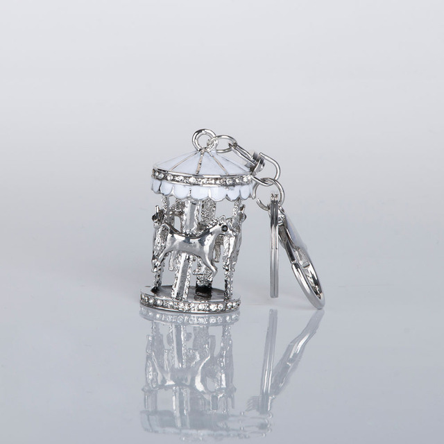 1 قطعة جديد تصميم حجر الراين كاروسيل المفاتيح المرأة حقيبة يد مفتاح سلسلة مجوهرات هدية بورت clefs fantaisie