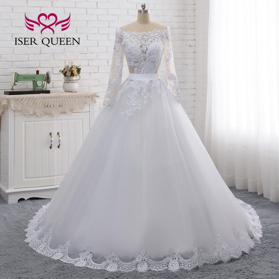 Image 2 - Illusion Back Sexy Wedding Dress A line Long Sleeves European Wedding Gowns 2019 Lace Embroidery Wedding Dresses W0274-in Wedding Dresses from Weddings & Events