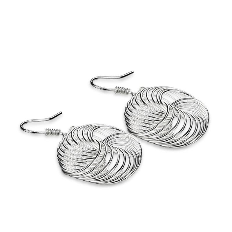 Модные женские серебро серьги, восстановление древних способов сетки большие серьги, одноцветное Серебро 925 не аллергия серьги, ювелирные и... ...