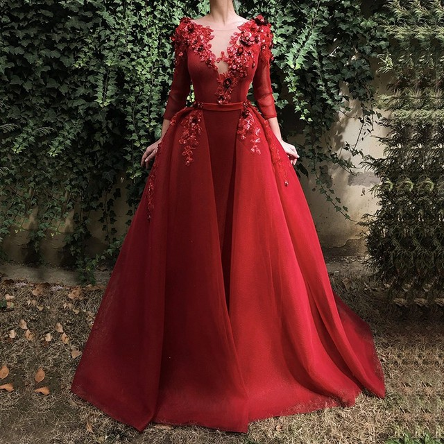 Burgundy Long Evening Gown Long Sleeve Sequin Flowers Dubai Kaftan Saudi Arabic Elegant Formal Dress Muslim Evening Dresses 2019