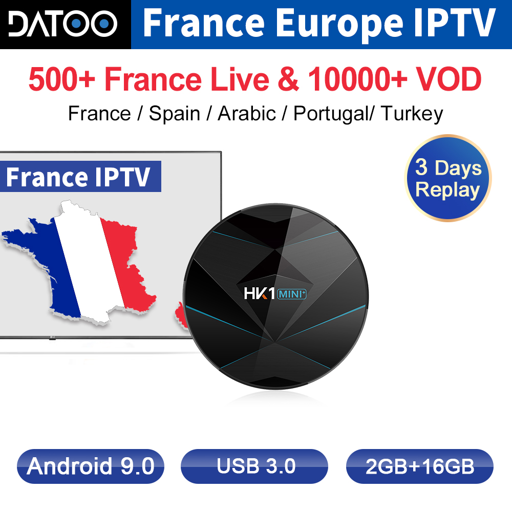 IPTV France italie arabe Portugal DATOO Box HK1 MINI + Android 9.0 2G + 16G BT double bande WIFI France IPTV français arabe italie Code