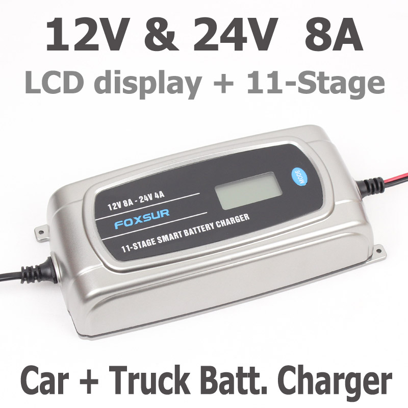 FOXSUR 12V 24V Car Battery Charger with LCD display, 11-stage Smart Battery Charger, Truck Waterproof Lead-Acid Battery ChargerFOXSUR 12V 24V Car Battery Charger with LCD display, 11-stage Smart Battery Charger, Truck Waterproof Lead-Acid Battery Charger
