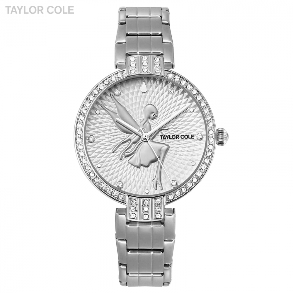 Taylor Cole Luxury Round Full Silver Crystal Case Lady Feminino Slim Quartz Steel Band Bracelet Clock Women Wristwatches / TC088 taylor cole relogio tc013