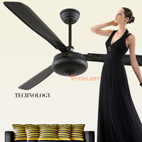 Dining Room Ceiling Fan Modern Black Ceiling Fan Retro Metal Room Fan with Remote Control 42 Inch 56 Inch