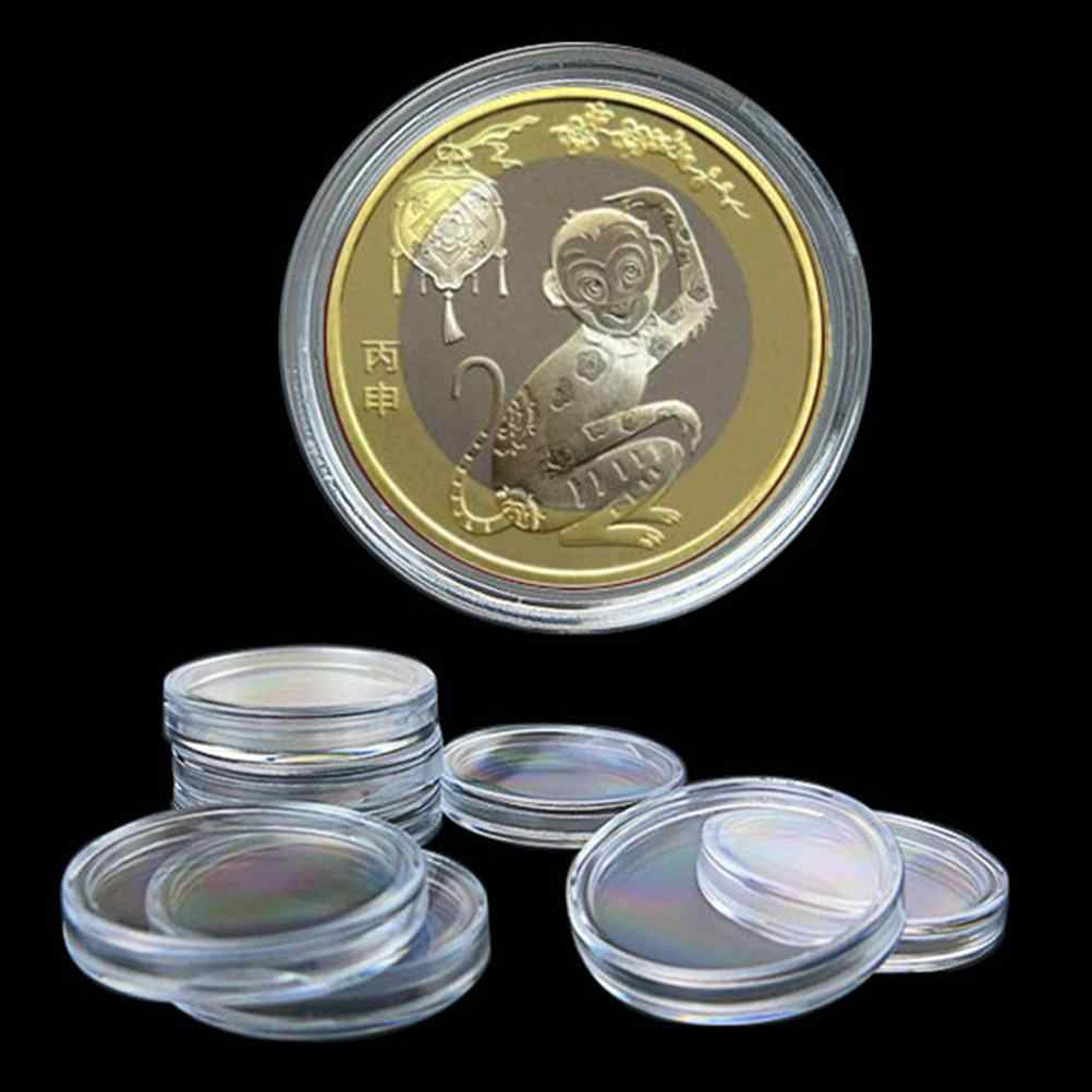 10Pcs Storage Boxes Applied Clear Round Cases Coin Storage Lighthouse Plastic Capsules Coin box Display Cases dia 27/35/45mm