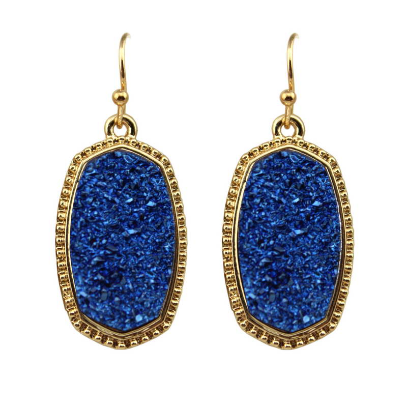 Fashion Geometric Oval Druzy Pendant Statement Earrings Women 2018 Bohemian Gold Drusy Stone Dangle Earrings Jewelry Wholesale