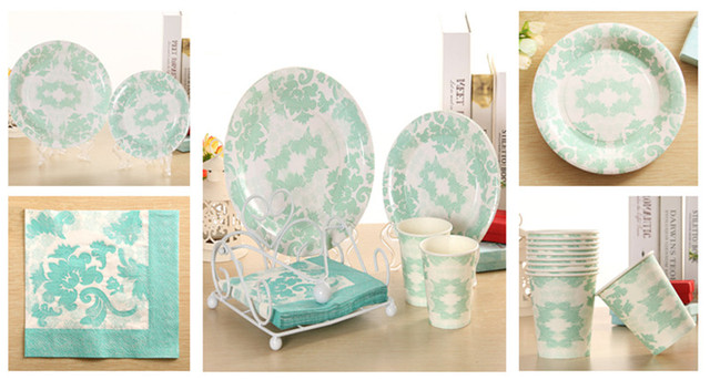 Wholesale 1000pcs Disposable Party Tableware Tiffany Blue Paper Plate Cup Napkin For Wedding Valentines Day