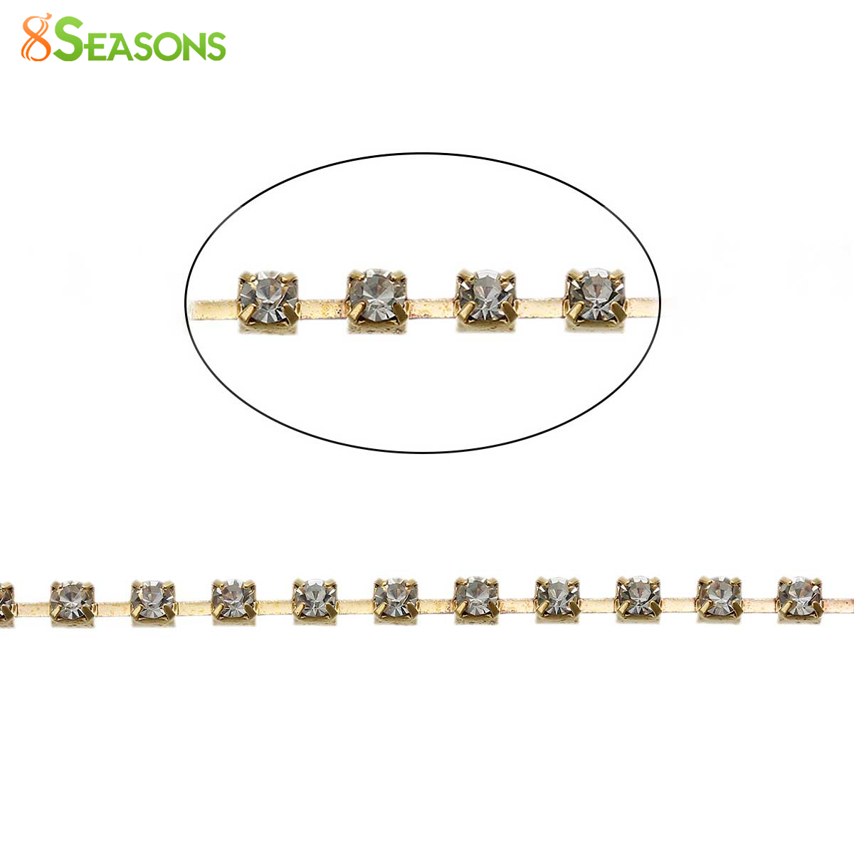 "8SEASONS Zinc Based Alloy Trims Close <font><b>Cup</b></font> Chain Findings <font><b>Gold</b></font> Plated Square Clear Rhinestone 3x3mm( 1/8""x1/8""), 3 <font><b>M</b></font> 2016 new"