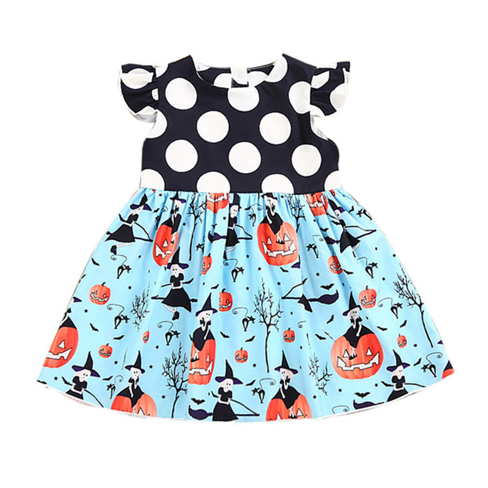 Toddler Kids Baby Girls Halloween Pumpkin Cartoon Princess Dress O-Neck Summer Kids Girls Halloween Party Cotton Fashion Dresses
