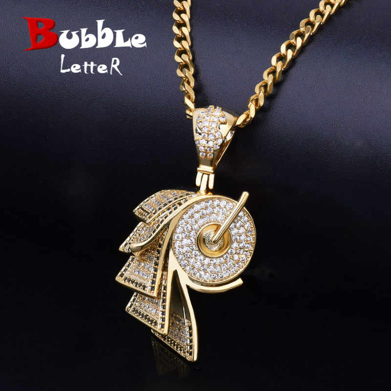 Men Pendant Roll Paper Shape Cubic Zirconia Gold Necklace Copper Material AAA CZ Iced Hip hip Jewelry With Miami Cuban Chain