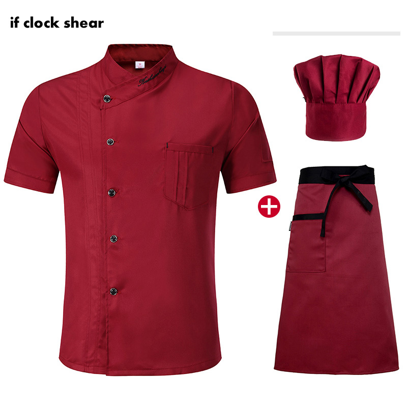 Unisex High Quality Kitchen Cooking Clothes Chef Jacket Hat Apron Short Sleeved Chef Restaurant Uniforms Summer Chef Coat M-4XL