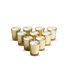Glass Votive Candle Holder Set Of 12 Mercury Gold Silver Rose Candlestick For Wedding