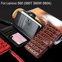 For Lenovo S60 Case Luxury Crocodile Snake Leather Flip Cover Business Wallet Bag Phone Cases For