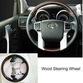 Multifunción volante de madera interior del coche del ajuste para toyota prado fj150 2700/4000 2010-2016