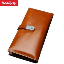 Vintage Oil Wax Genuine Leather Women Wallet Long Coin Pocket Purse Phone Wallet