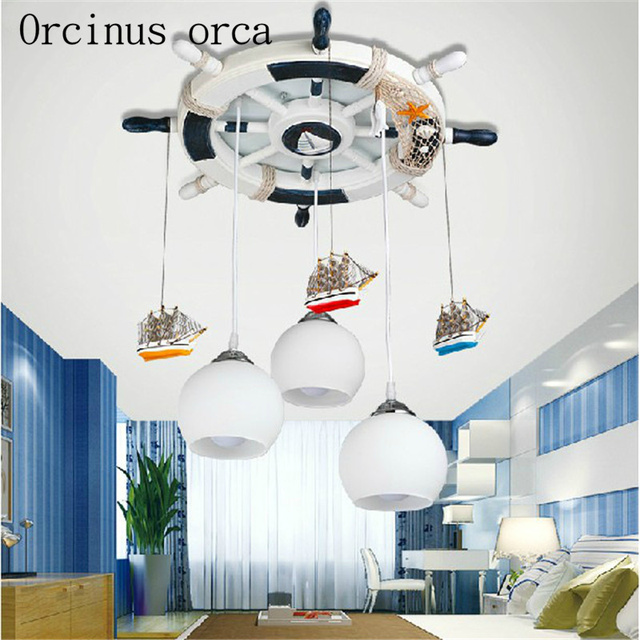 Mediterranean boat rudder chandelier children bedroom LED chandelier cartoon creative personality lighting free shipping