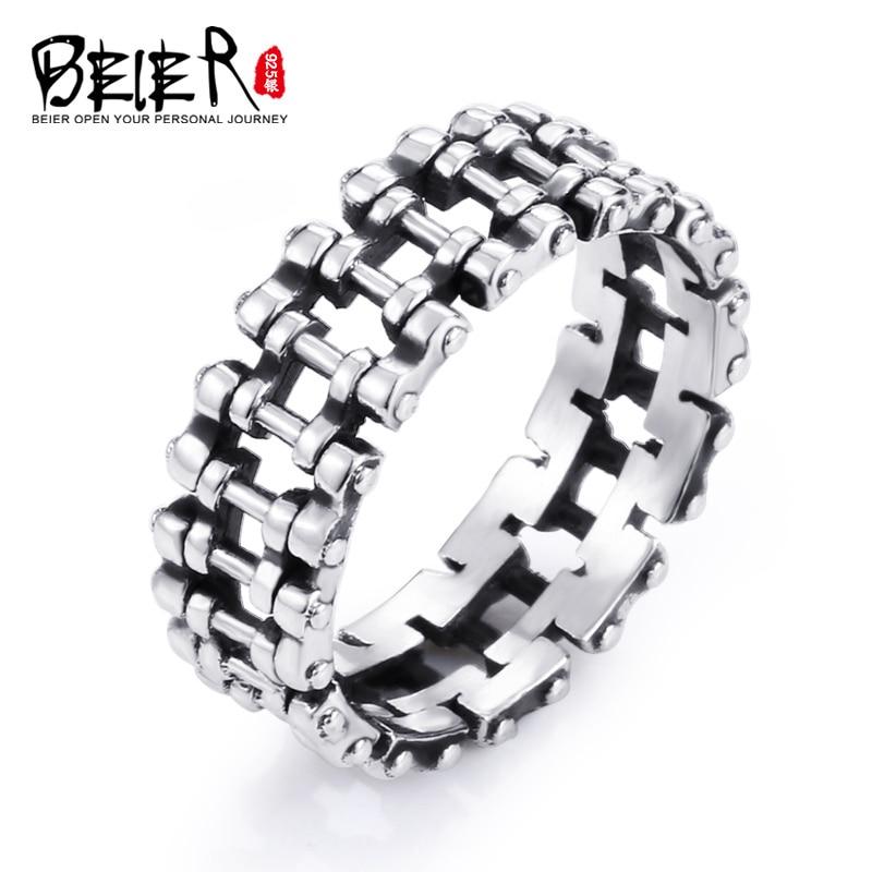 Beier 2017 New Store Punk Rock Desgin 100% 925 Steering Silver Chain Fashion Ring Hot Sale BR-SR010