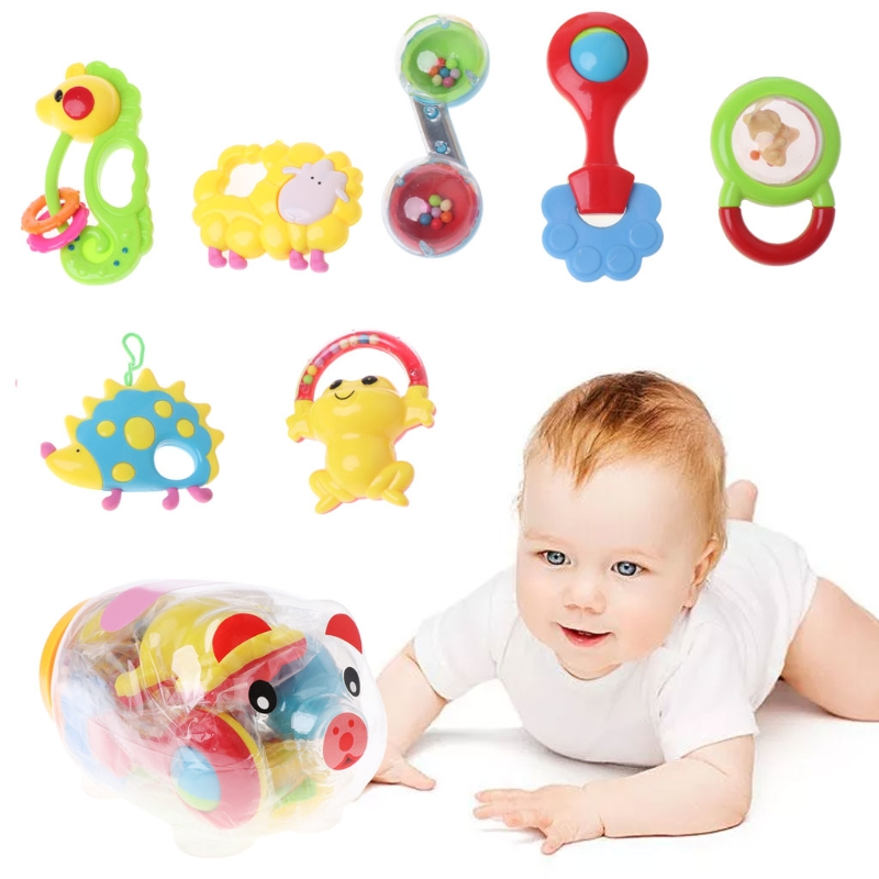 7PCS Baby Rattles And Teether Set Mobile Educational Toys For Newborns Brinquedo APR27-C