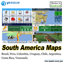 8GB SD Card Car GPS Navigation Maps card Android for South America maps Brazil Peru Colombia Uruguay Chile Argentina Costa Rica