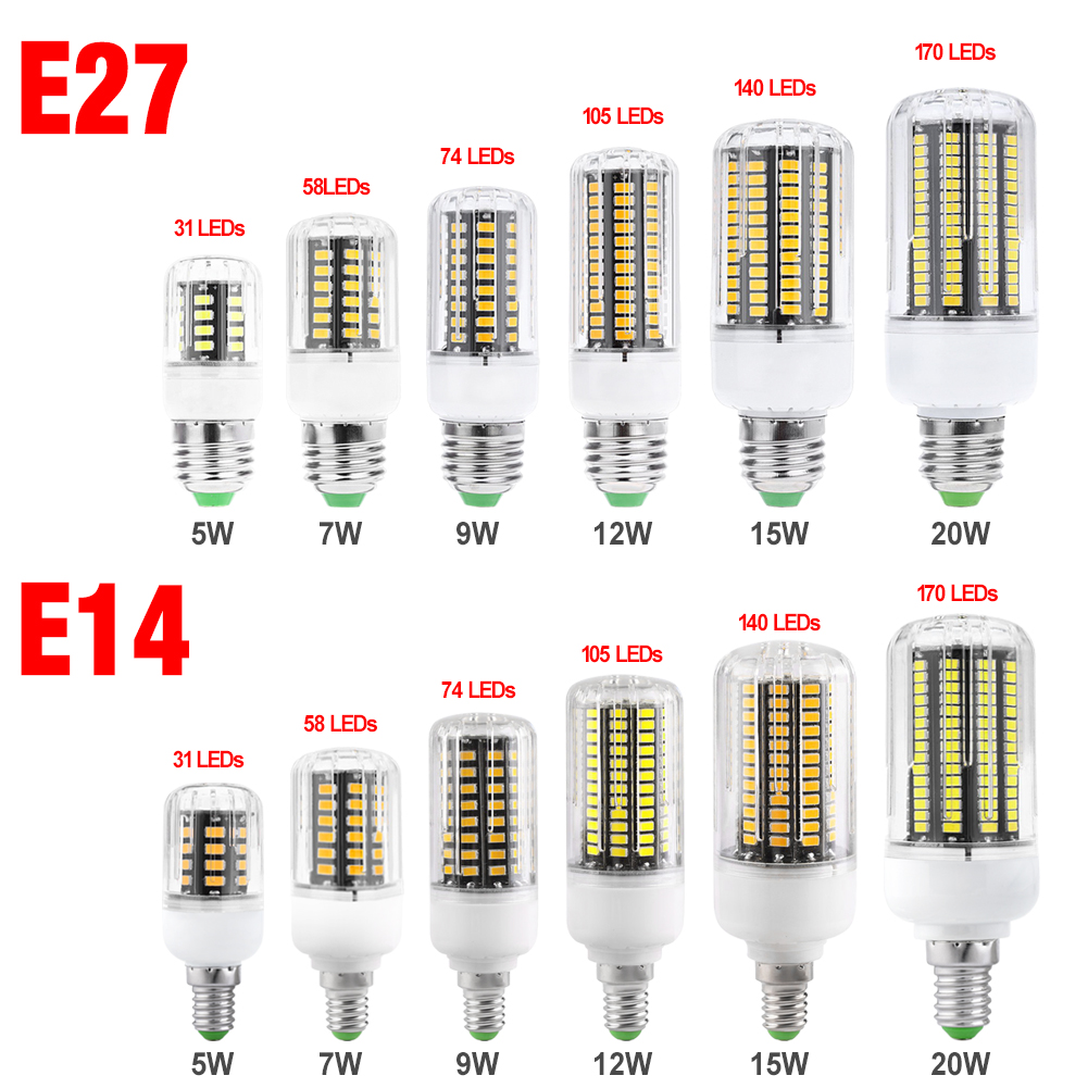 TSLEEN 5736 LED Corn Bulb Cool/Warm White 220V 5W/7W/9W/12W/15W/20W E27 E14 Base Light L ...