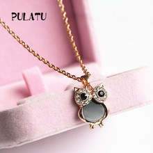 Owl Pendant Clavicle Choker Necklaces For Women Rhinestone Rose Gold color Female Gift Jewelry XL0202