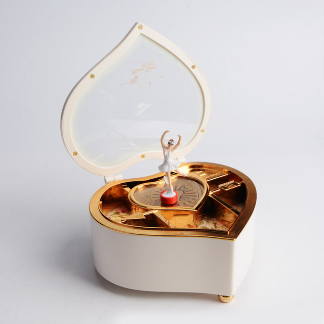 Heart Shape Dancing Ballerina Music Jewelry Box Wooden Mechanical