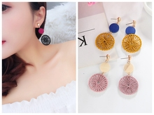 Korean Temperament Personality Joker Long Pendant Retro Circle Dream Catcher Earrings Female Birthday Gift Dangle