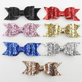 Girl's Young Shining Bowknot Spring Hair Clip Glitter Bow Barrette Hair Accessory
