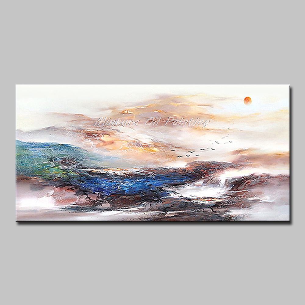 Mintura Art Большой размер Ручная роспись абстрактный пейзаж картина маслом на холсте современный настенный Декор картина для гостиной без рамы - Цвет: MT161279