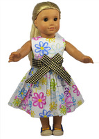Fashion American Girl Doll Clothes Of Flower Pattern Dress With Belt For 18 American Girl Doll