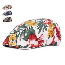Spring Summer Beret Hats For Men Women Casual Cotton Berets Gorras Planas Boinas Floral Print Flat Cap Adjustable Male