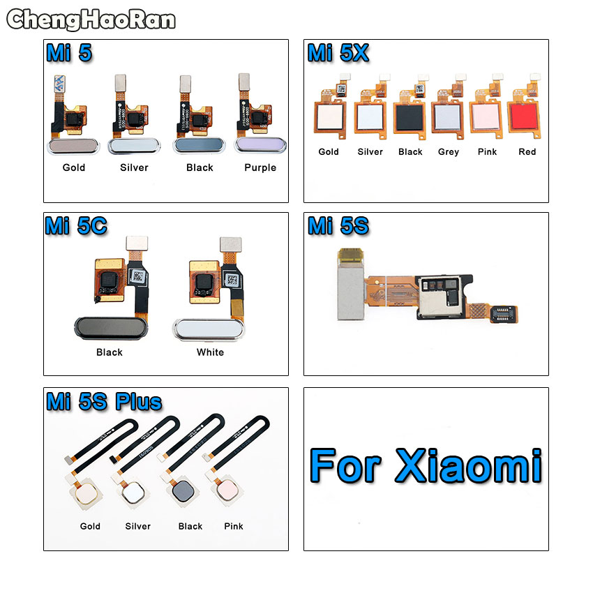 ChengHaoRan For Xiaomi Mi 5 5X 5C 5S Plus Mi5 Mi5s Home Button Fingerprint Scanner Touch Sensor ID Return Flex Cable Ribbon