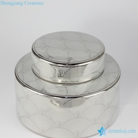 RZKA15B264 Golden screw thread pattern short round chinaware small porcelain jar