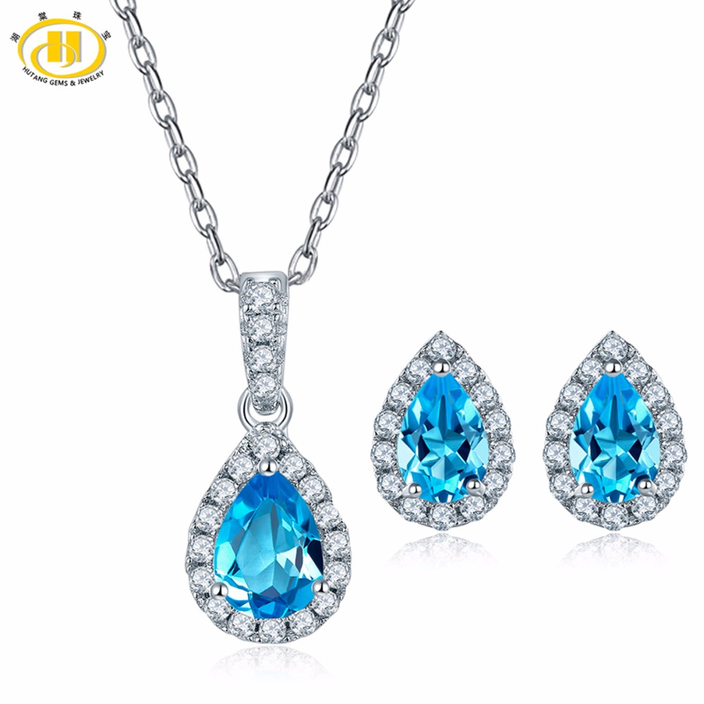 Hutang Natural Jewelry Sets Gemstone Blue Topaz 925 Silver Pendant Earrings Fine Stone Jewelry for Women Best Gift Hot Sale NewHutang Natural Jewelry Sets Gemstone Blue Topaz 925 Silver Pendant Earrings Fine Stone Jewelry for Women Best Gift Hot Sale New