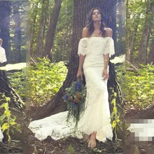 Mermaid Vintage Boho Wedding Dress with Boat Neck