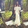 Vestido De Noiva Boho 2017 Barco pescoço Longo Sereia Laço Nupcial Vestido de Noiva Primavera Verão Bohemian Vestidos de Casamento Do Vintage Vestido Bonito