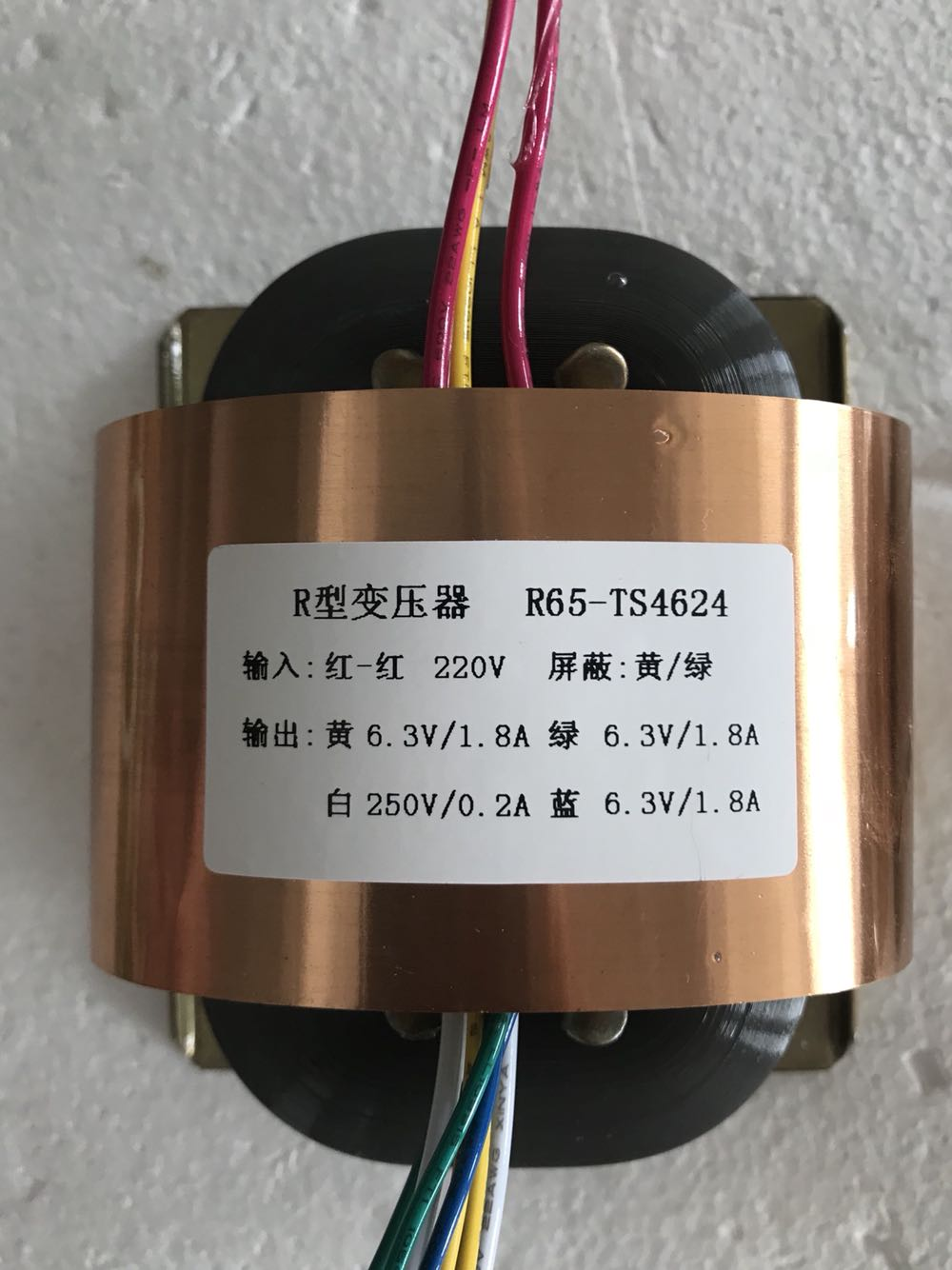 3 6 3V 1 8A 250V 0 2A R Core Transformer R65 custom transformer 220V with