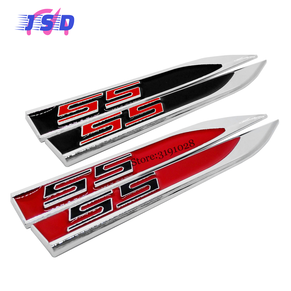 Car accessories red black side fender stickers metal blade emblem decals for ss logo for chevrolet