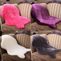 Hairy Carpet Sheepskin Chair Cover Seat Pad Plain Skin Fur Plain Fluffy Area Rugs Bedroom Faux