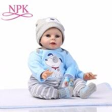NPK 아기 Reborn 인형 소년 살아있는 장난감 귀여운 소녀 장난감 22 Inch 55cm 연약한 실리콘 몸 아기 인형 생일 선물