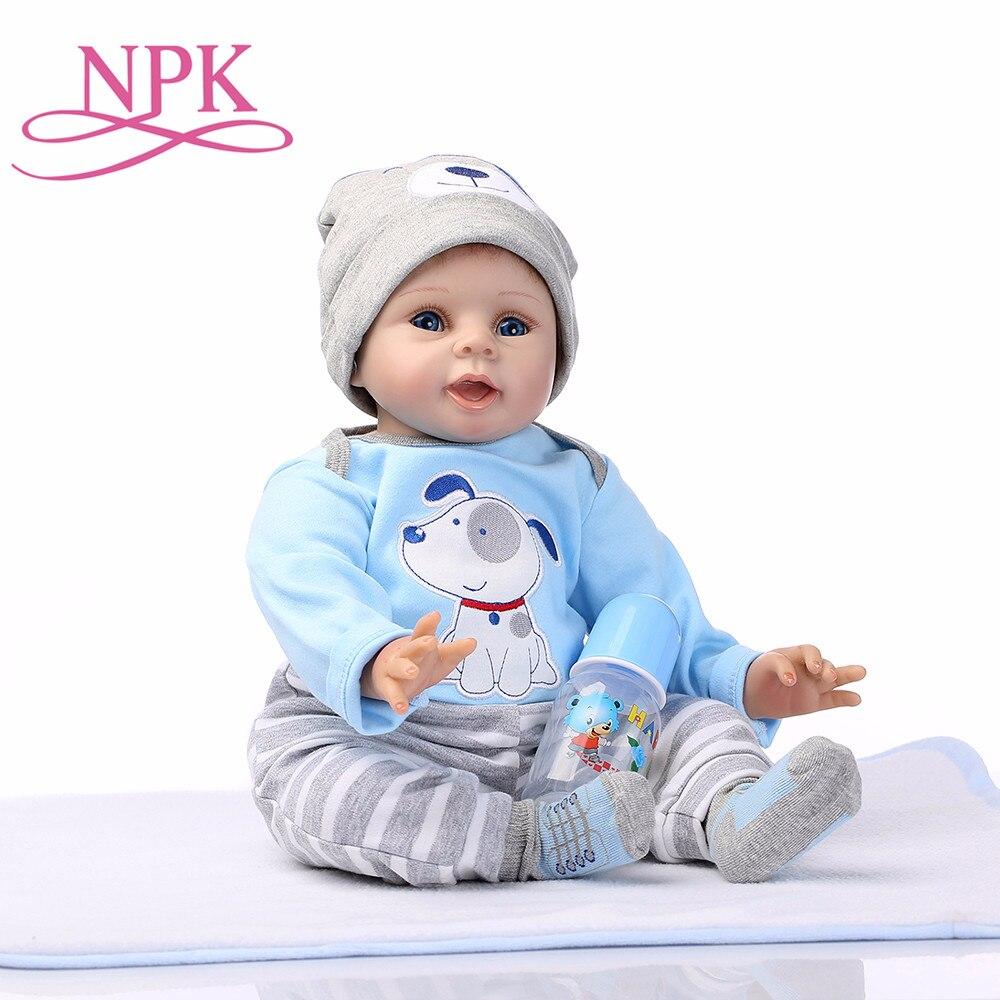 NPK bébé Reborn poupée garçon vivant jouets pour enfants filles mignonnes jouets 22 pouces 55 cm Silicone souple corps bébé poupées cadeau d'anniversaire