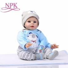 NPK bebé Reborn muñeca vivo juguetes para niños lindos juguetes de las niñas de 22 pulgadas 55cm de silicona suave cuerpo muñecas del bebé regalo de cumpleaños