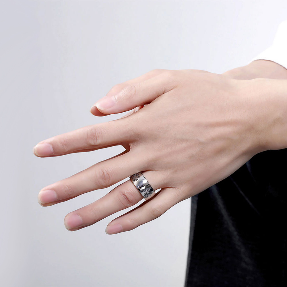 ZMT Brand Stainless Steel Rings Rose imprint Luxury Thick Bridal ...