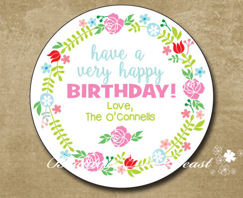 Personalized Birthday Gift Sticker Party Favor Bag Labels Flower Tags Decorations Kids Candy Box