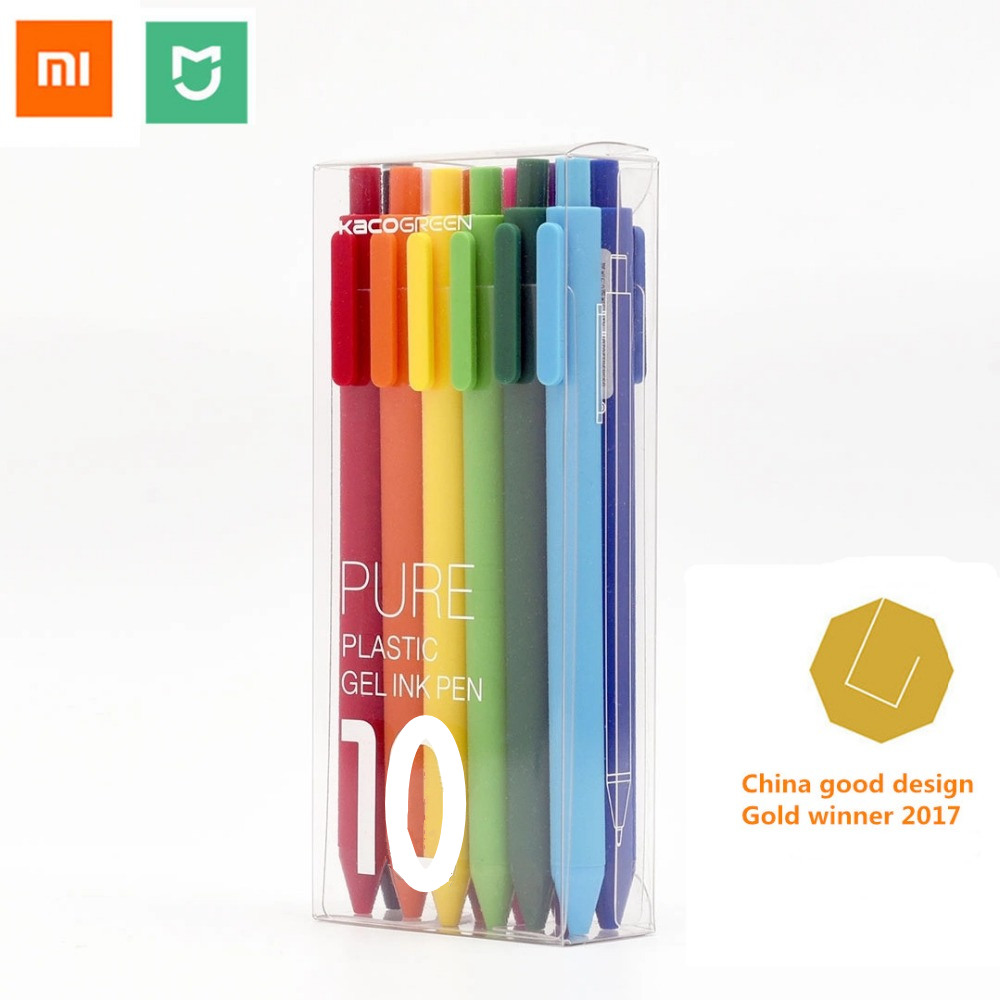 Xiaomi mijia Colorful sign pen ,KACO 20 / 10 colors 0.5mm pen ,write length 400M ,ABS plastic For xiaomi mi home smart home original xiaomi mijia pen kaco sky 0 3mm 0 4mm pen with gift pen box case used to eu adater for xiaomi mi home smart home